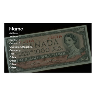 One thousand dollar bill Double-Sided standard business cards (Pack of 100)
