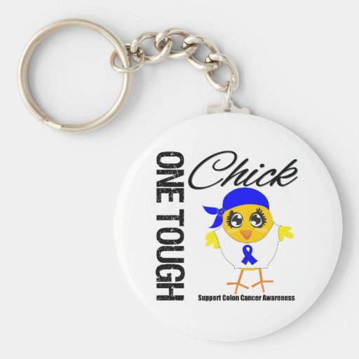 One Tough Chick Colon Cancer Warrior Basic Round Button Key Ring