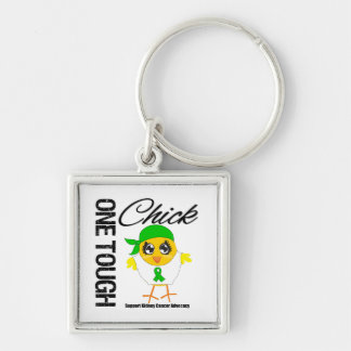 One Tough Chick Kidney Cancer Advocacy Silver-Colored Square Key Ring