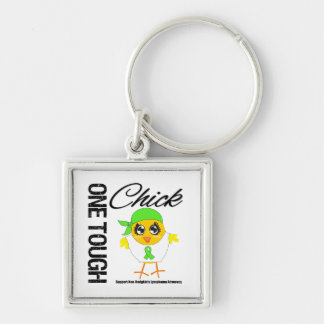 One Tough Chick Non-Hodgkin's Lymphoma Warrior Silver-Colored Square Key Ring