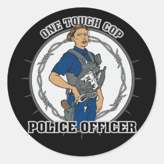 One Tough Female Cop Classic Round Sticker