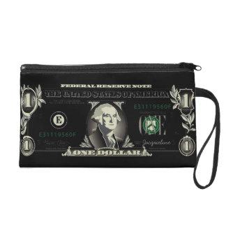 One US Dollar Bill Baggetes Bag Wristlet