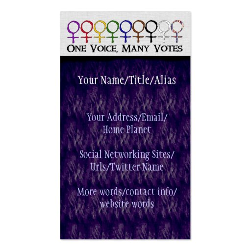 One Voice, Many Votes Business Card Template