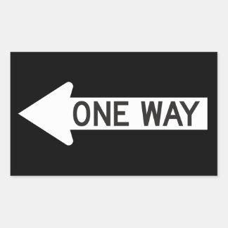 One Way Arrow Road Sign Rectangular Sticker