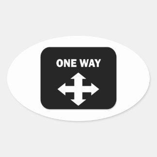 One Way Oval Sticker