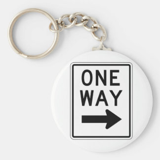 One Way Right Sign Basic Round Button Key Ring