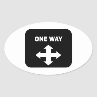 One Way Oval Stickers