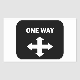 One Way Rectangle Sticker