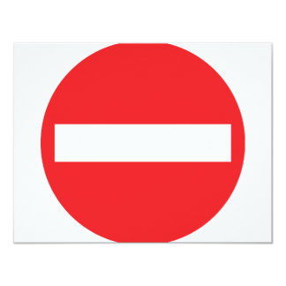 one-way street icon 11 cm x 14 cm invitation card