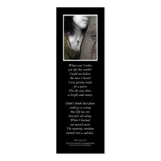 'One with the Earth' poetry bookmark Pack Of Skinny Business Cards