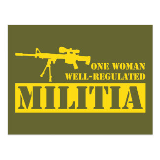 One Woman Well Regulated Militia Postcards