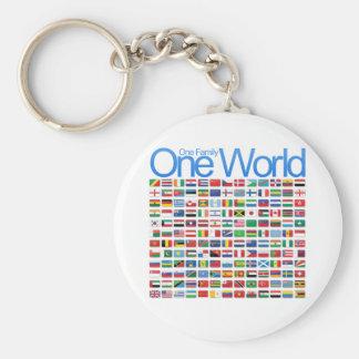 One World Basic Round Button Key Ring