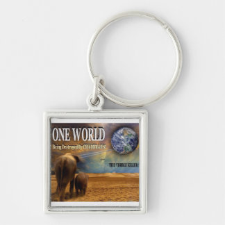 One World Being Destroyed by Chemtrails Silver-Colored Square Key Ring