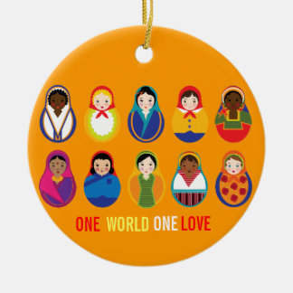 One world One Love Multicultural Ornament
