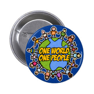 one world one people 6 cm round badge