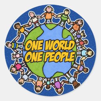 one world one people round sticker