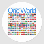 One World Round Stickers