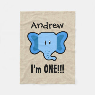 One Year 1st Birthday Cute Elephant Face A18 Fleece Blanket