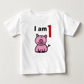 One year old birthday baby (pink pig) tee shirts
