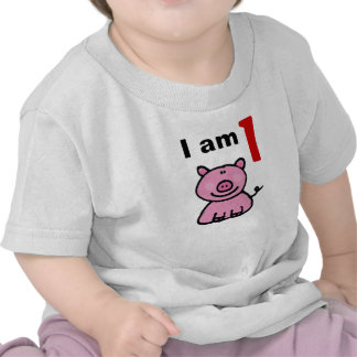 One year old birthday baby pink pig shirts