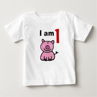 One year old birthday baby (pink pig) tees