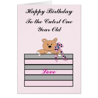 One Year Old Birthday Greeting Card