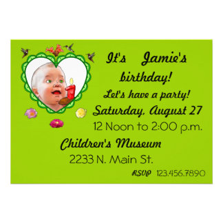 One Year Old Birthday Personalized Announcements