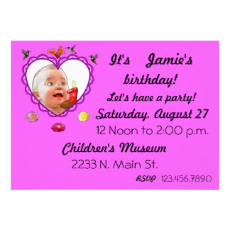 One Year Old Birthday Personalized Invite
