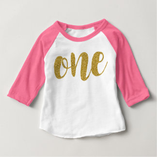 One Year Old Cute Golden Glitter Print Baby TShirt