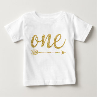 One Year Old Golden Glitter-Print Baby T-Shirt