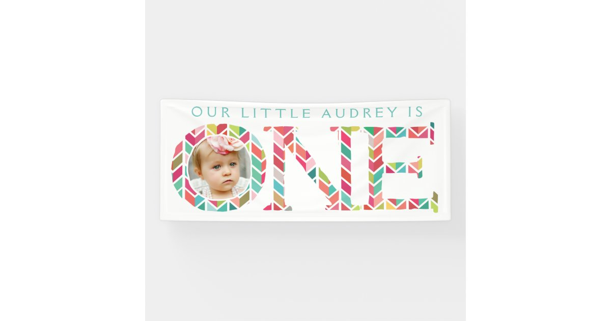 One Year Old Photo 1st Birthday Party Banner