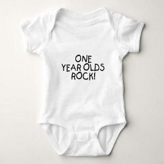One Year Olds Rock (Black) Baby Bodysuit