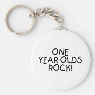 One Year Olds Rock (Black) Basic Round Button Key Ring