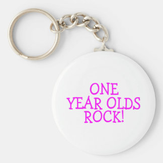 One Year Olds Rock (Pink) Basic Round Button Key Ring