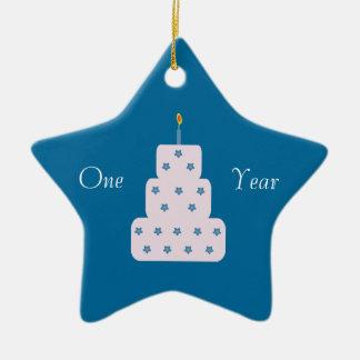 One Year Sobriety Birthday Cake Customizable Blue Ceramic Star Decoration