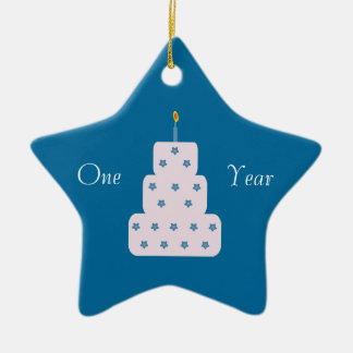 One Year Sobriety Birthday Cake Customizable Blue Christmas Ornament