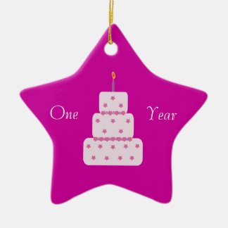 One Year Sobriety Birthday Cake Customizable Pink Ceramic Star Decoration