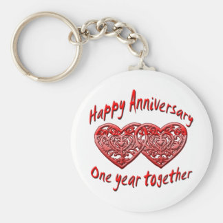 One Year Together Basic Round Button Key Ring