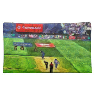Ongoing cricket match cosmetic bags