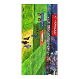 Ongoing cricket match personalized photo card