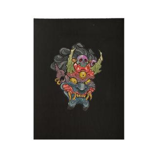 "Oni Mask Wood Poster, 19"" x 14.5"" Wood Poster"