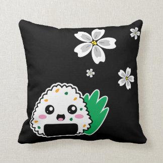 Onigiri and White Sakura Pillow Throw Cushions