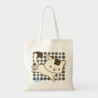 Onigiri Cat Frolic Tote (Brown Polka) Budget Tote Bag