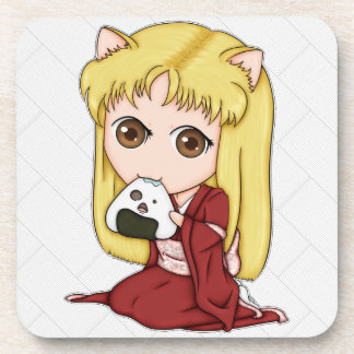 Onigiri Cat Girl In Red Kimono Beverage Coaster