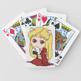 Onigiri Cat Girl In Red Kimono Bicycle Card Decks