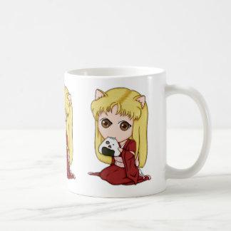Onigiri Cat Girl In Red Kimono Coffee Mugs