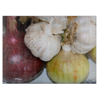 Onions and Garlic Glass Chopping Board