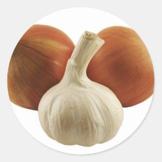 Onions and garlic round sticker