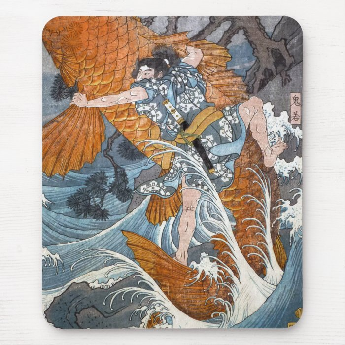 Oniwakamaru the young Benkei, Hiroshige Mouse Pad