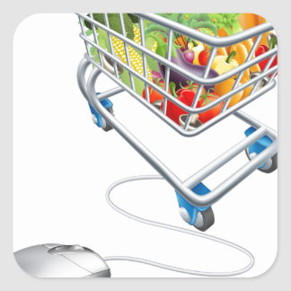 Online grocery shopping concept stickers